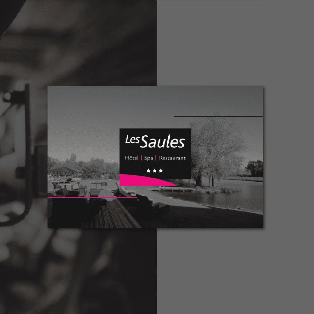 Carte de visite Les Saules hotel spa restaurant verso